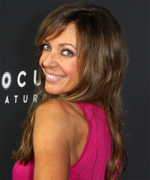 Allison Janney Long Straight Casual   Hairstyle with Side Swept Bangs  - Medium Brunette - Side on View