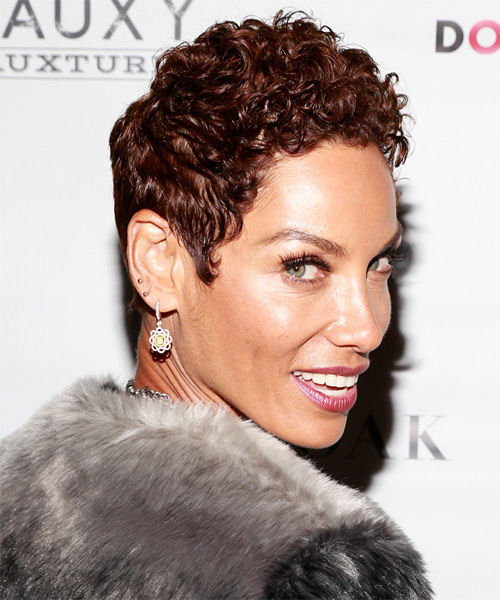 Nicole Mitchell Short Curly Casual    Hairstyle   -  Auburn Brunette Hair Color - Side on View
