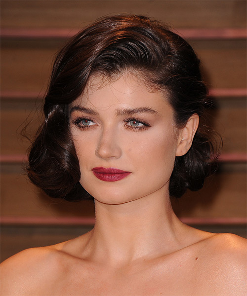 Eve Hewson Updo Medium Curly Formal Wedding Updo Hairstyle   - Dark Brunette (Mocha) - Side on View