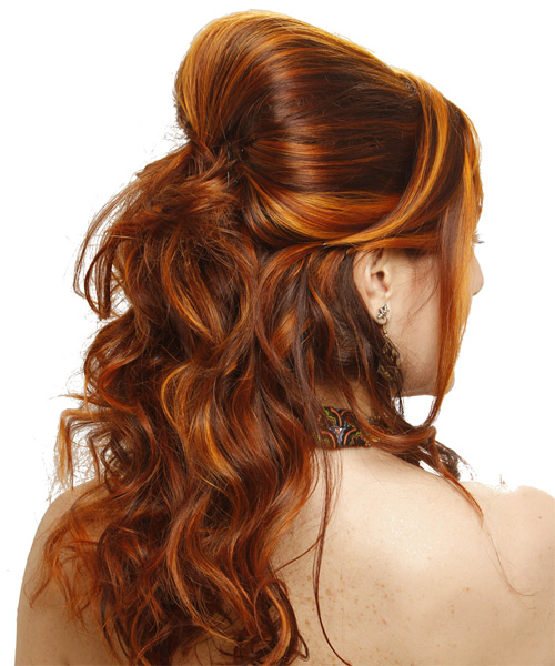 Long Curly Formal Half Up Hairstyle   Ginger Brunette Hair Color With Red  Highlights   Side