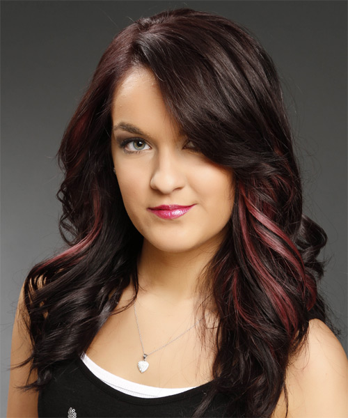 Long Wavy   Dark Plum Red   Hairstyle   with Pink Highlights - Side on View
