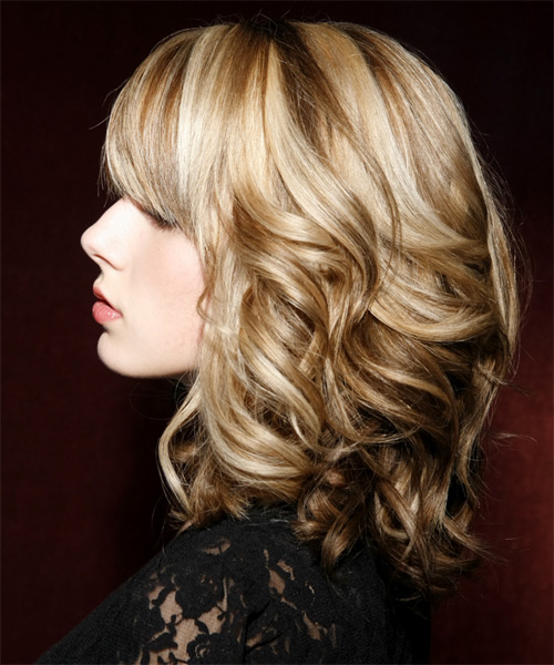 Medium Wavy Formal   Hairstyle with Side Swept Bangs  - Medium Blonde (Champagne) - Side on View
