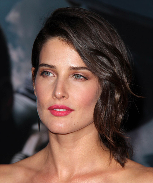 Cobie Smulders Half Up Medium Straight Formal  Half Up Hairstyle   - Dark Brunette (Mocha) - Side on View