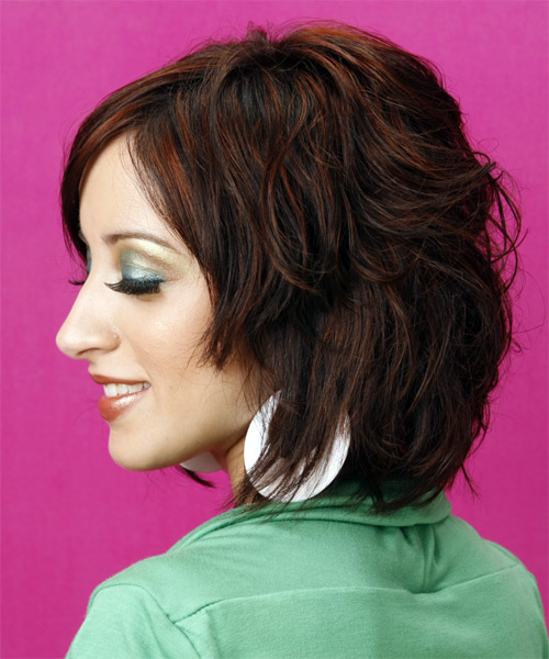 Medium Wavy Casual   Hairstyle with Side Swept Bangs  - Dark Brunette - Side on View