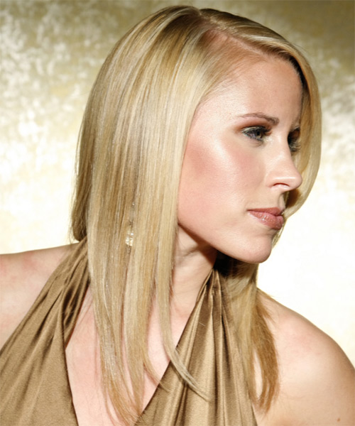 Long Straight Formal   Hairstyle   - Medium Blonde (Ash) - Side on View