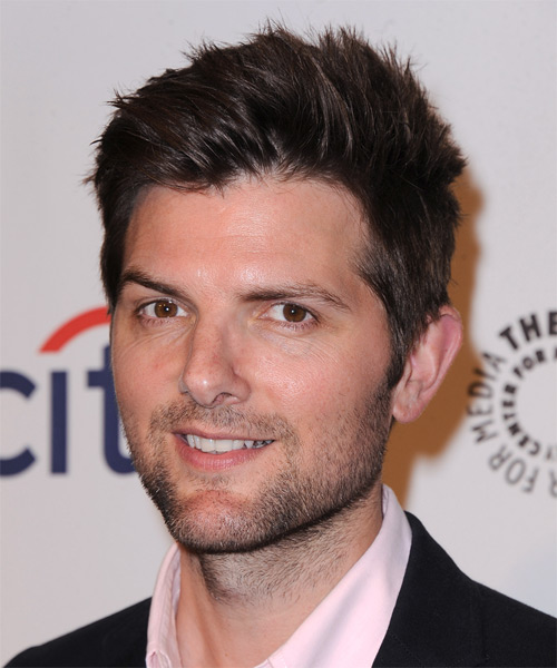 Adam Scott Short Straight Casual    Hairstyle   - Dark Mocha Brunette Hair Color - Side on View