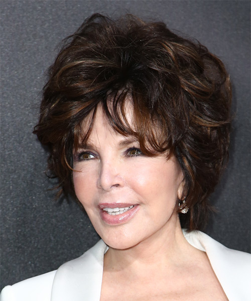 Carole Bayer Sager Short Straight Formal    Hairstyle with Layered Bangs  - Dark Mocha Brunette Hair Color - Side on View