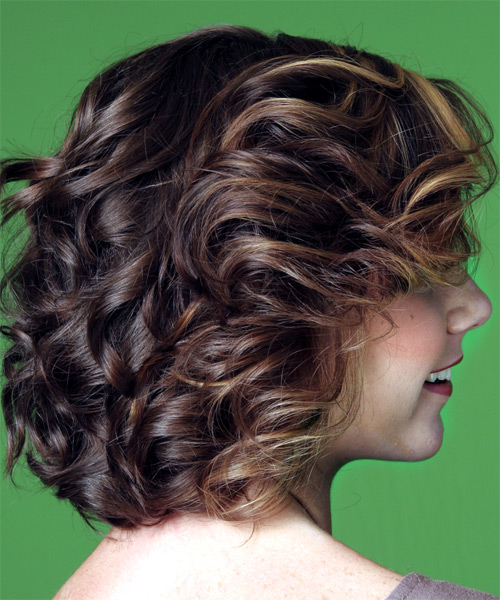 Medium Wavy Casual    Hairstyle with Side Swept Bangs  -  Mocha Brunette Hair Color with  Blonde Highlights - Side on View
