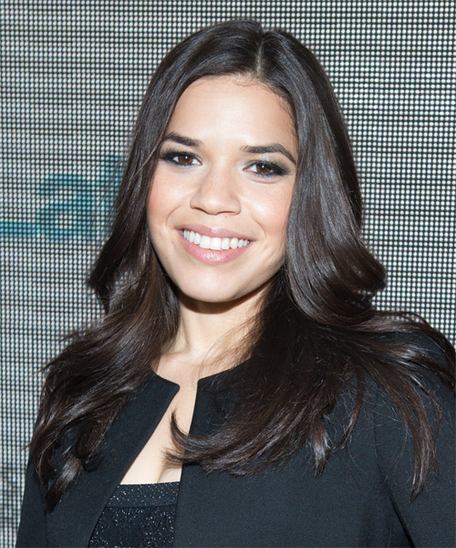 America Ferrera Long Straight Formal   Hairstyle   - Dark Brunette - Side on View