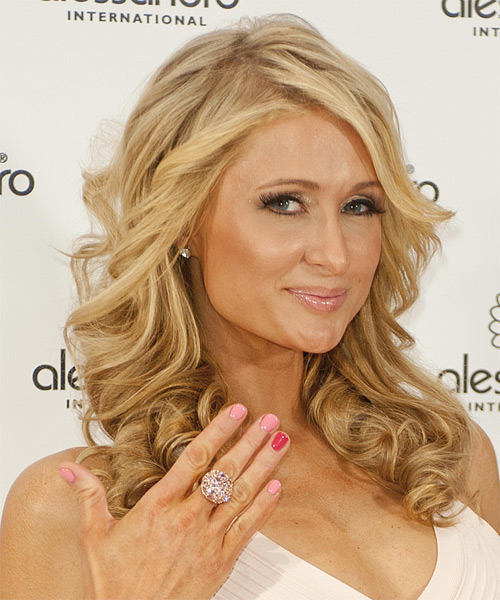 Paris Hilton Long Curly    Blonde   Hairstyle   with Light Blonde Highlights - Side on View