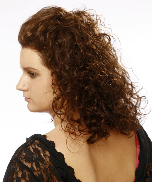 Medium Curly    Chocolate Brunette   Hairstyle   - Side on View