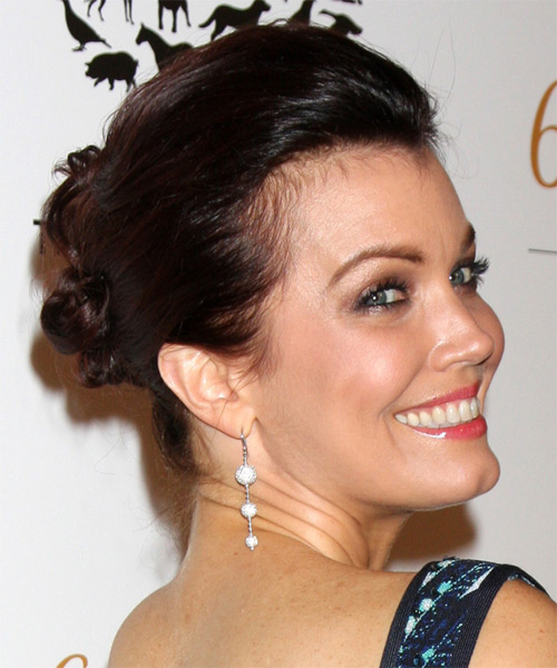 Updo Long Straight Casual Updo  - Dark Brunette - Side on View