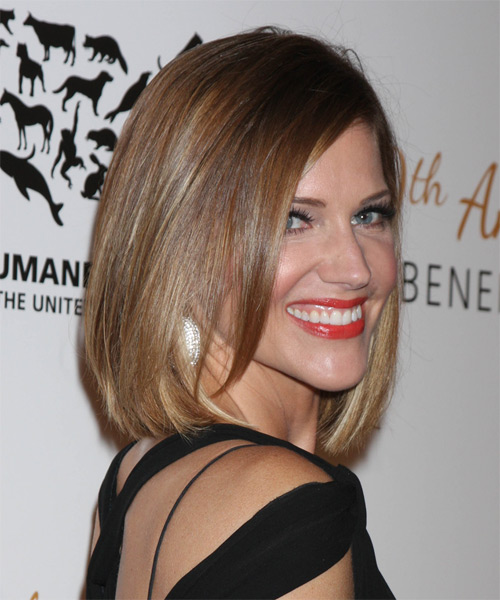 Tricia Helfer Medium Straight Casual   Hairstyle   - Medium Brunette (Caramel) - Side on View