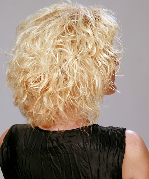 Medium Curly Casual   Hairstyle   - Light Blonde (Golden) - Side on View