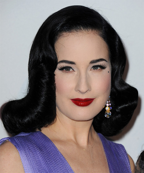 Dita Von Teese Medium Wavy Formal Wedding  Hairstyle   - Black - Side on View