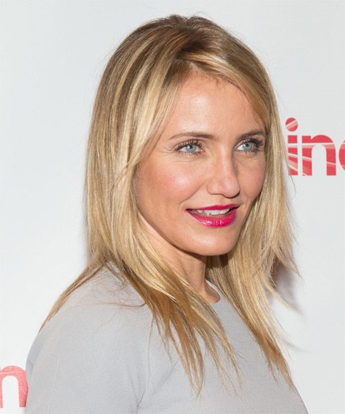 Cameron Diaz Long Straight Casual    Hairstyle   -  Strawberry Blonde Hair Color with Light Blonde Highlights - Side on View