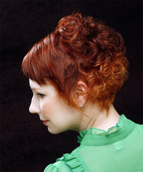 Short Curly Casual   Hairstyle with Side Swept Bangs  - Medium Red (Ginger) - Side on View