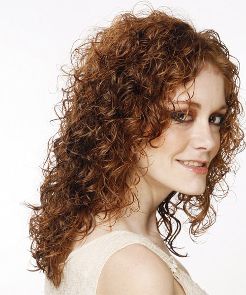 Long Curly Casual    Hairstyle   - Medium Auburn Brunette Hair Color - Side on View