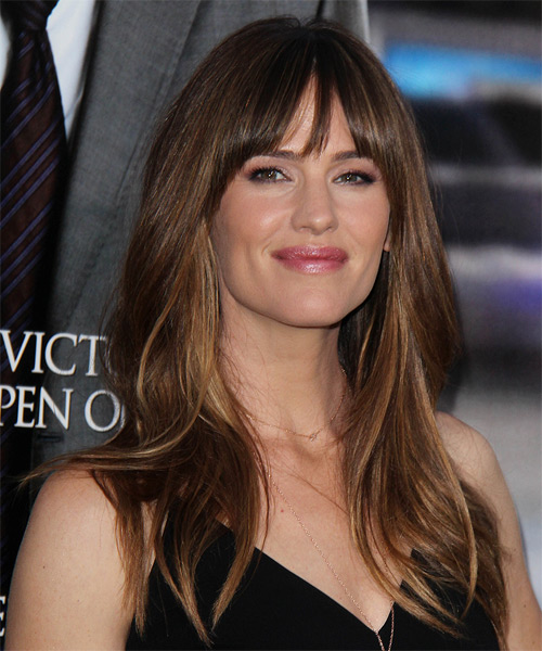 Jennifer Garner Long Straight    Brunette   Hairstyle with Layered Bangs  and Dark Blonde Highlights - Side on View