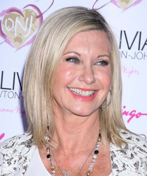 Olivia Newton John Medium Straight Casual    Hairstyle   -  Grey Hair Color - Side on View
