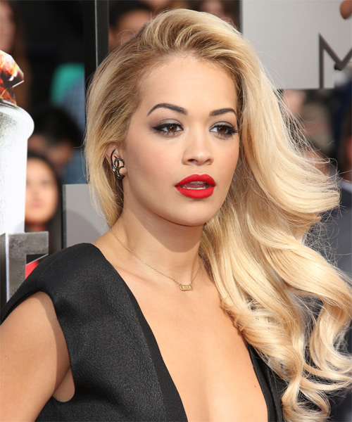 Rita Ora Long Wavy Formal Hairstyle Light Blonde Hair Color
