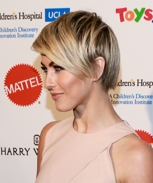 Julianne Hough Short Straight    Blonde   Hairstyle with Side Swept Bangs  and Light Blonde Highlights - Side on View