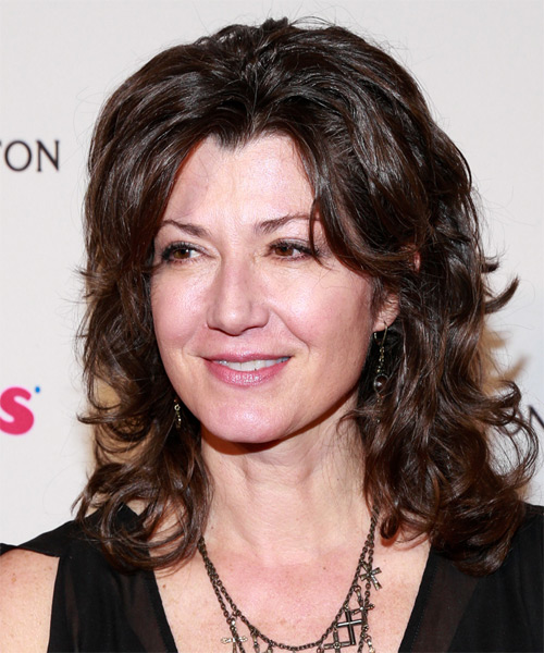 Amy Grant Medium Wavy Casual   Hairstyle   - Dark Brunette - Side on View