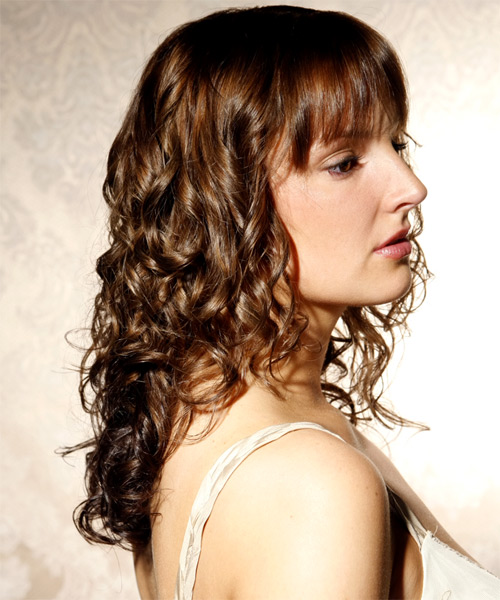 Long Curly Casual    Hairstyle with Blunt Cut Bangs  -  Ash Brunette Hair Color - Side on View