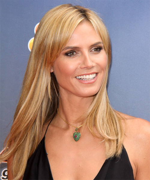 Heidi Klum Long Straight Casual    Hairstyle   - Medium Honey Blonde Hair Color with Light Blonde Highlights - Side on View