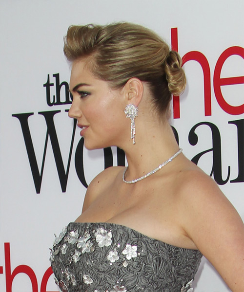 Kate Upton Updo Long Straight Formal Wedding Updo Hairstyle   - Dark Blonde - Side on View