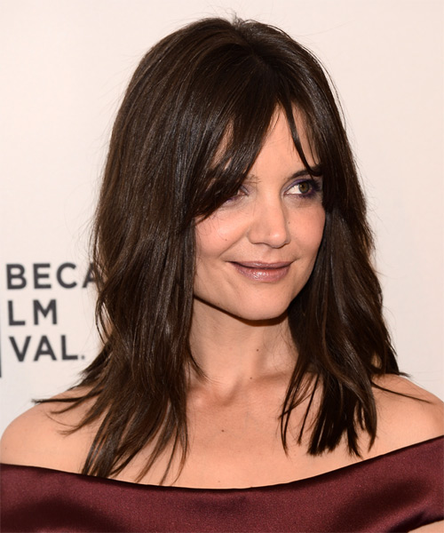 Katie Holmes Long Straight Casual   Hairstyle with Layered Bangs  - Medium Brunette (Chocolate) - Side on View