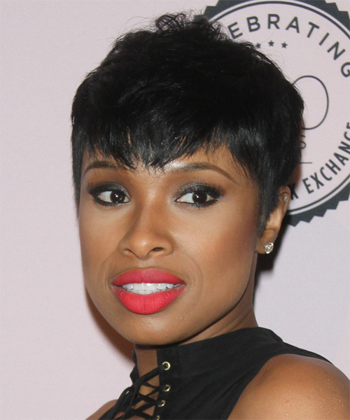 Jennifer Hudson Short Straight Casual   Hairstyle with Layered Bangs  - Black - Side on View