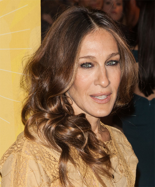 Sarah Jessica Parker Long Wavy Casual    Hairstyle   -  Chestnut Brunette Hair Color with Dark Blonde Highlights - Side on View