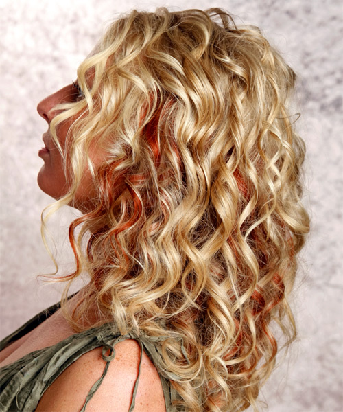 Long Curly Casual    Hairstyle   -  Golden Blonde Hair Color with  Red Highlights - Side on View