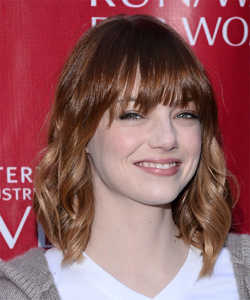 Emma Stone Medium Wavy Casual   Hairstyle with Layered Bangs  - Medium Brunette (Mahogany) - Side on View