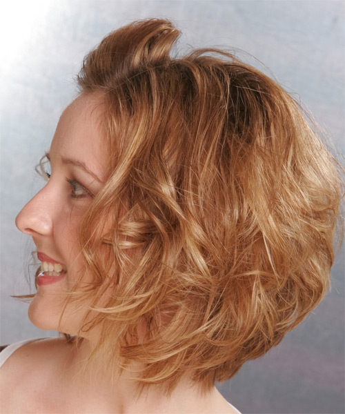 Updo Medium Curly Formal  Updo Hairstyle   - Dark Blonde (Copper) - Side on View