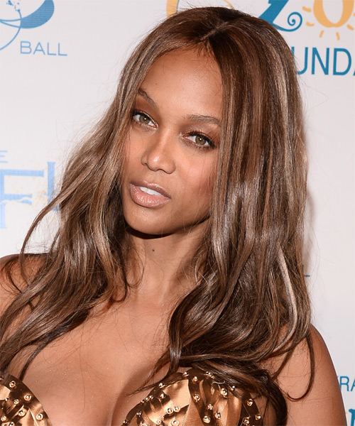 Tyra Banks Long Straight Casual    Hairstyle   - Medium Chestnut Brunette Hair Color - Side on View