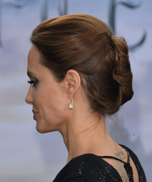 Angelina Jolie Updo Long Straight Formal Wedding Updo Hairstyle   - Medium Brunette - Side on View