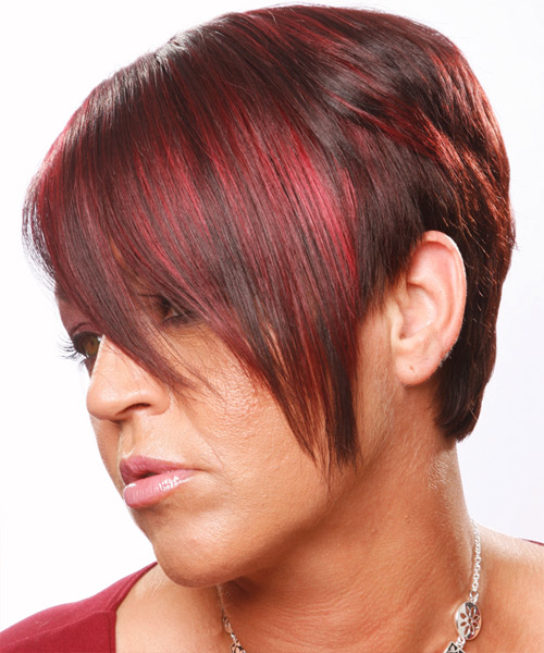 Short Straight Casual    Hairstyle   - Dark Red Hair Color - Side on View