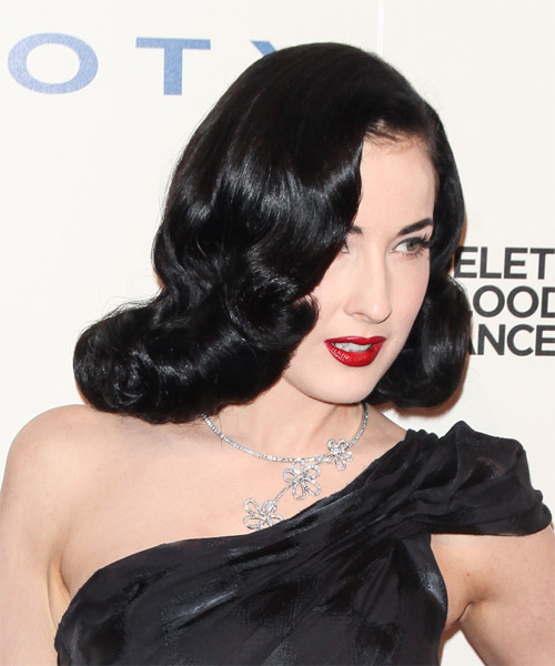 Dita Von Teese Medium Wavy Formal    Hairstyle   - Black Ash  Hair Color - Side on View