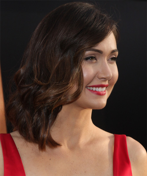 Jessica Chobot Medium Wavy Formal    Hairstyle   - Medium Chocolate Brunette Hair Color - Side on View