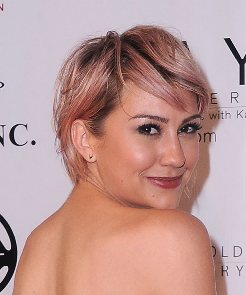 Chelsea Kane Short Straight Casual    Hairstyle with Side Swept Bangs  - Pink  Hair Color - Side on View