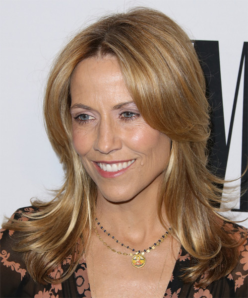 Sheryl Crow Medium Straight Casual   Hairstyle   - Dark Blonde (Copper) - Side on View