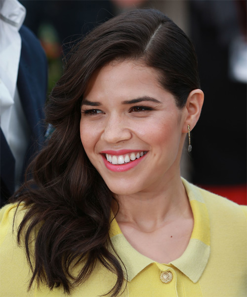 America Ferrera Long Wavy Formal   Hairstyle   - Dark Brunette (Mocha) - Side on View