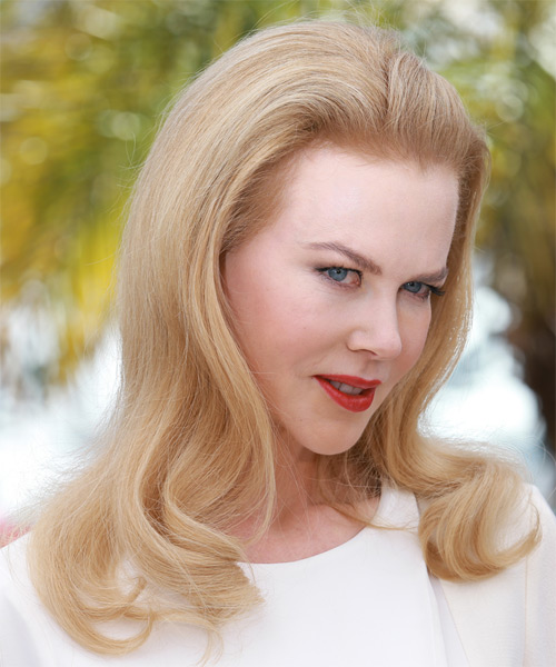 Nicole Kidman Long Straight Formal    Hairstyle   - Light Strawberry Blonde Hair Color - Side on View