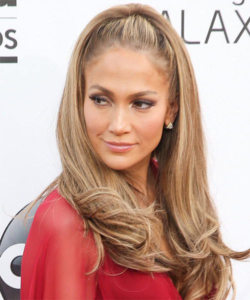 Jennifer Lopez Long Straight   Light Caramel Brunette   Hairstyle   with  Blonde Highlights - Side on View
