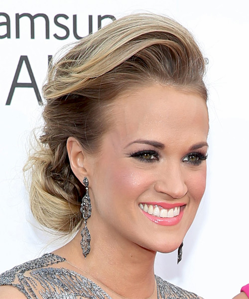 Carrie Underwood Updo Long Straight Formal Wedding Updo Hairstyle   - Dark Blonde - Side on View