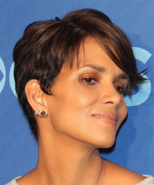 Halle Berry Short Straight Casual Layered Pixie  Hairstyle with Side Swept Bangs  -  Brunette Hair Color - Side on View