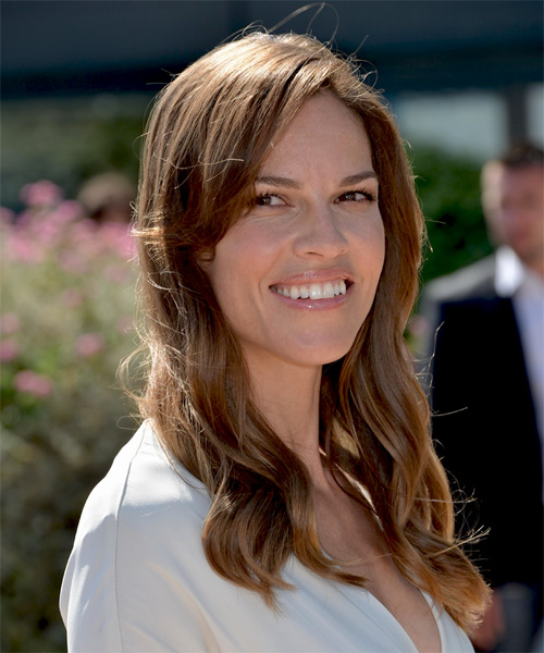 Hilary Swank Long Wavy Casual    Hairstyle   -  Brunette Hair Color - Side on View