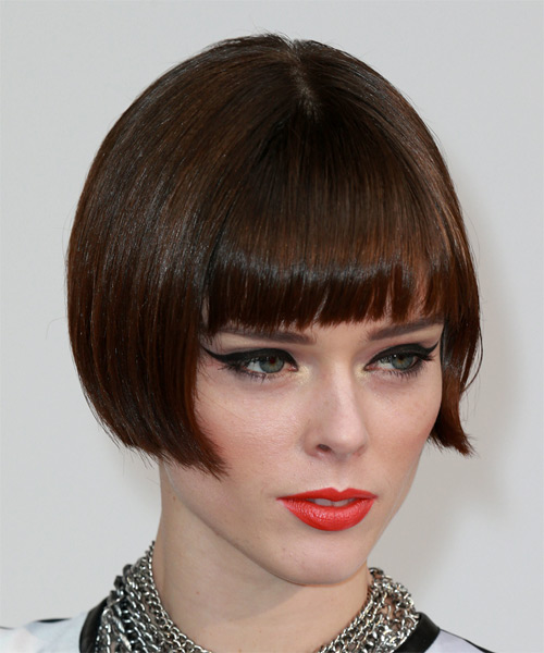 Coco Rocha Short Straight Formal   Hairstyle with Blunt Cut Bangs  - Medium Brunette - Side on View